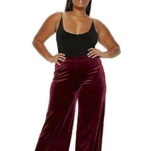 NEW! Lane Bryant Burgundy Velvet Velour Pants